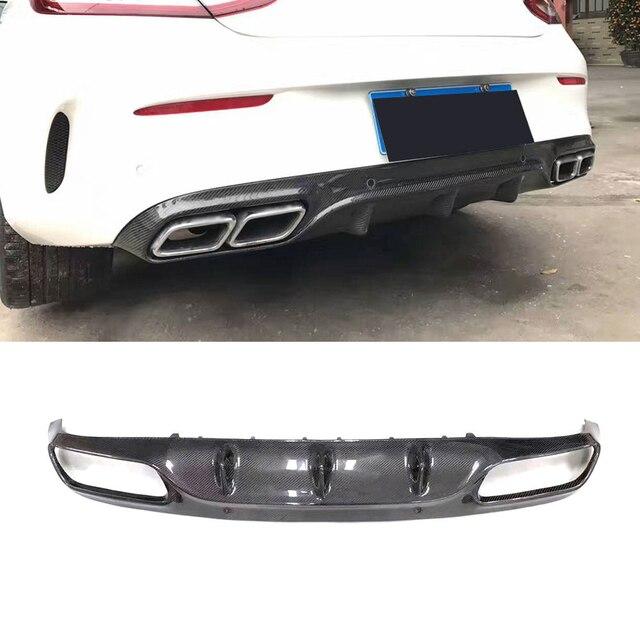 For C205 C63 O Style Carbon Fiber Rear Bumper Lip Diffuser for Mercedes Benz C Class W205 C205 C63 AMG Coupe C200 2015 2016 2017