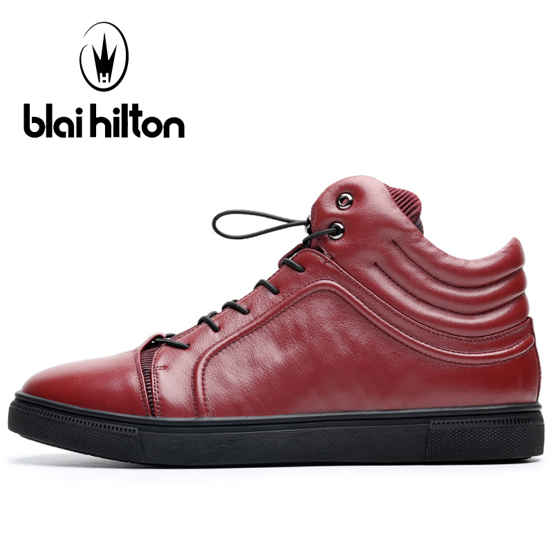 Blaibilton Breathable High Top Skateboard Shoes Man Brand Genuine Leather Men's Sneakers Elastic band Black Sport Shoes For Men