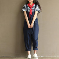 2018 Loose Harem Overalls Women Summer Cotton Jumpsuits Strap Casual Baggy Harem Trousers Pants Vintage Rompers