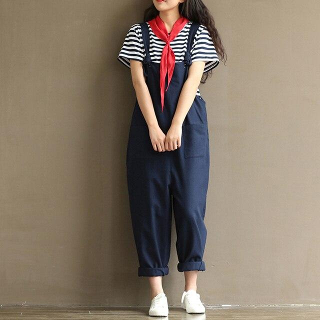 4488264477 2018 Loose Harem Overalls Women Summer Cotton Jumpsuits Strap Casual Baggy  Harem Trousers Pants Vintage Rompers Pocket Plus Size