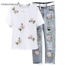 N.POKLONSKAYA Costumes for Women Clothing Set T-shirt and Jeans with Holes two piece sets Embroidery Pants Women's summer suits(China)