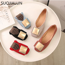 SUOJIALUN Plus Size 35-43 Women Flats Shoes Round Toe Fresh Color Office Lady Shoes Slip On Loafer Super Soft Ladies Ballet Flat suojialun 2019 spring women flats pointed toe slip on ballet flat shoes shallow boat shoes woman loafer ladies shoes zapatos