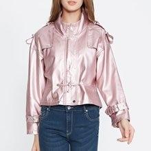 Women faux leather jacket Loose Biker Jackets Aviator coat n