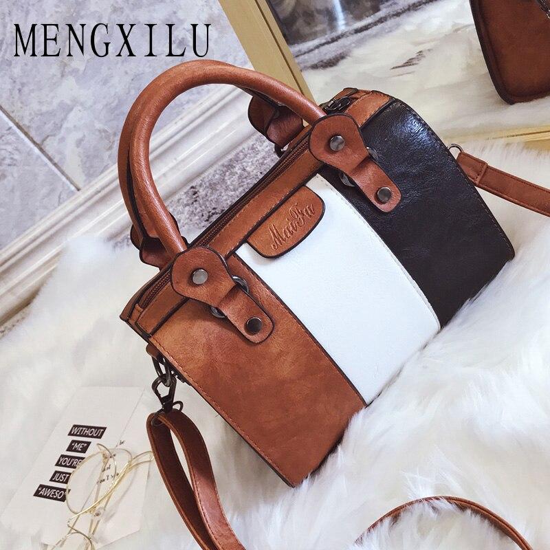 Oil Wax Women Handbags Hot Color Women Handbags High Quality PU Leather Patchwork Ladies Messenger Shoulder Bag Female Sac Main mengxilu oil wax leather women bag high