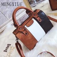Oil Wax Women Handbags Hot Color Women Handbags High Quality PU Leather Patchwork Ladies Messenger Shoulder