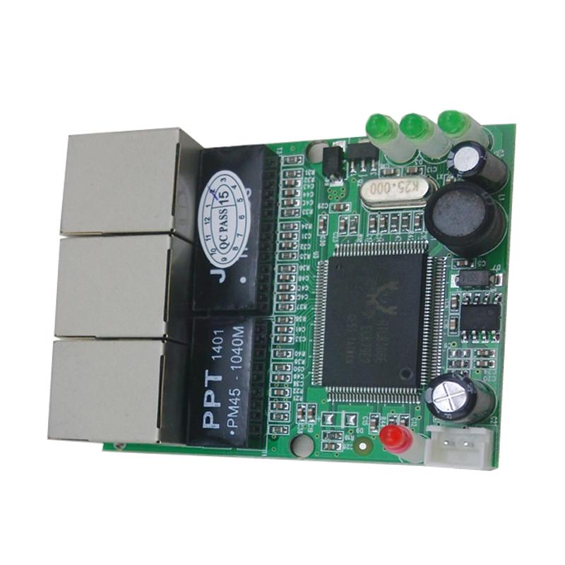 Prix pour Mini 3 port commutateur ethernet 10/100 mbps rj45 réseau commutateur hub pcb conseil module pour système l'intégration