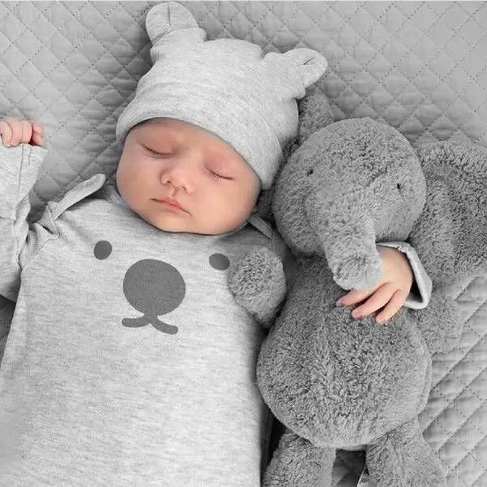 23cm Cute Plush Grey Elephant Toys Dolls Baby Sleeping Back Pillow Cushion Soft Stuffed Elephant Plush Toys Kids Gift cute 45cm stuffed soft plush penguin toys stuffed animals doll soft sleep pillow cushion for gift birthady party gift baby toy