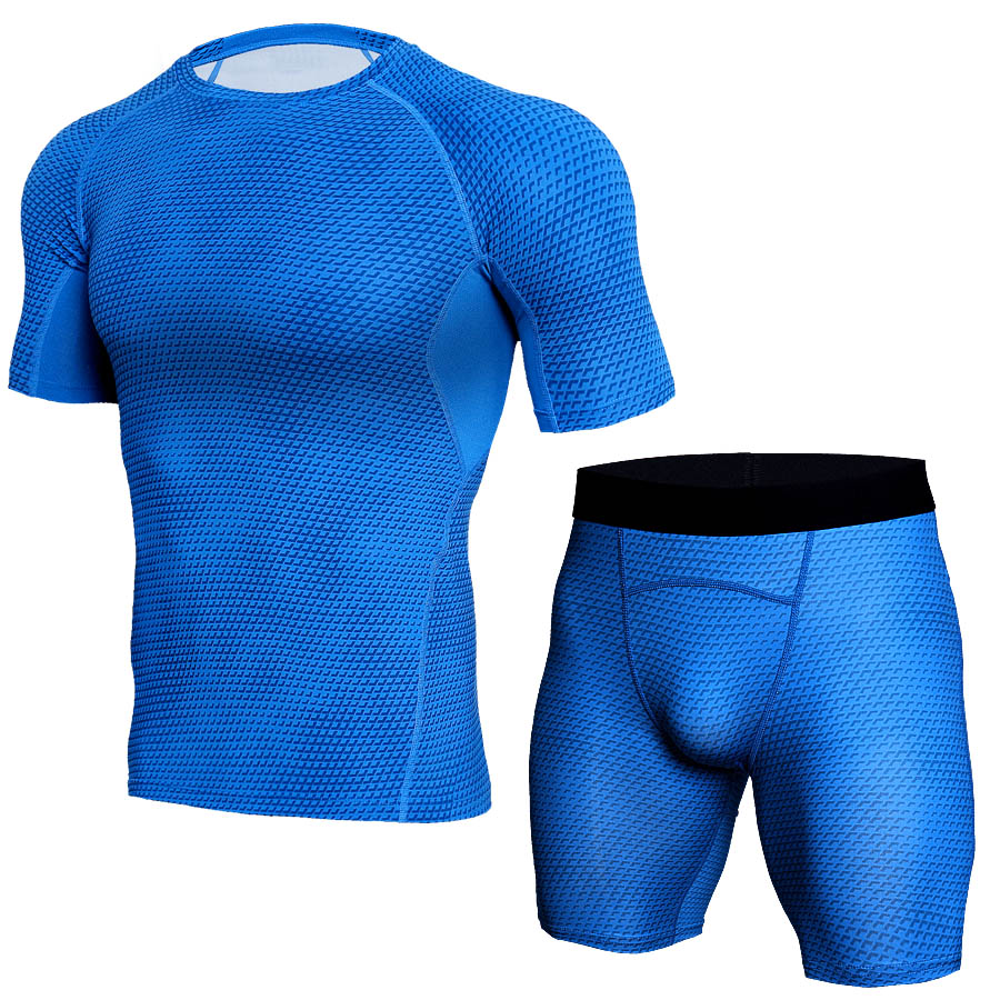 Image 4 - 2018 New Logo Custom Quick Dry Fitness Tight Running Set Gym Bodybuilding Sportswear Tank Shirt Shorts Men Tracksuit Sport Suit-in Running Sets from Sports & Entertainment on AliExpress