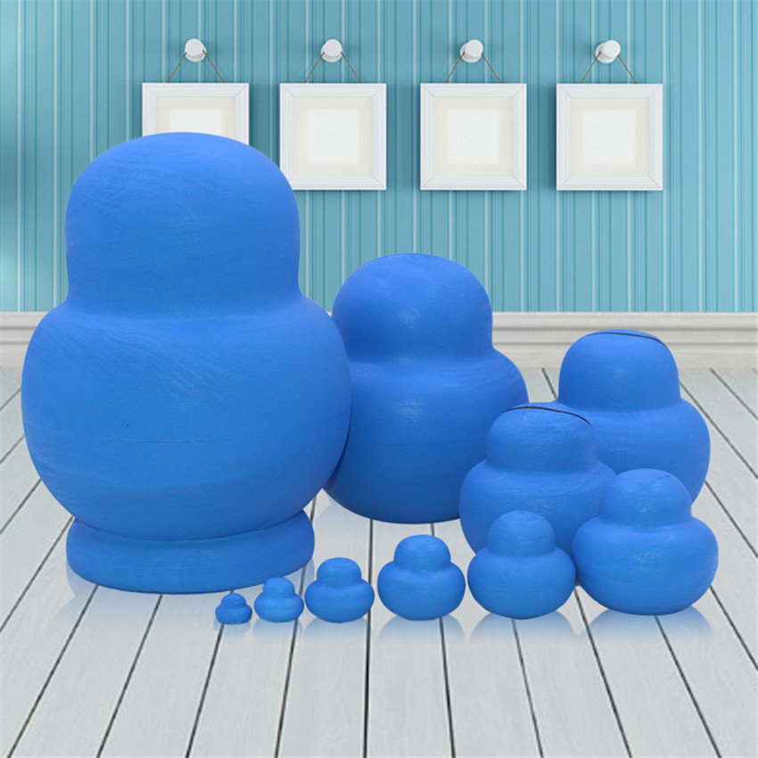 10 Layer Doraemon Pattern Russian Wooden Nesting Dolls Dry Basswood 10pcs Fashion Matryoshka Dolls Toy Hobbies Gift L30