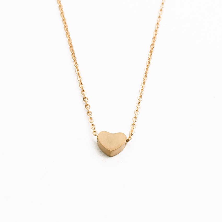 Minúsculo Amor Coração Colares Pingentes Em Forma de Aço Inoxidável Pequenos Corações Colares Namorada Presentes de Aniversário Ketting Cabide Hart