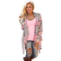 Sali Women Geometric Printed Long Sleeve Cotton Kimono Cardigan Coat Cover Up Tops Slim Sleeve Summer