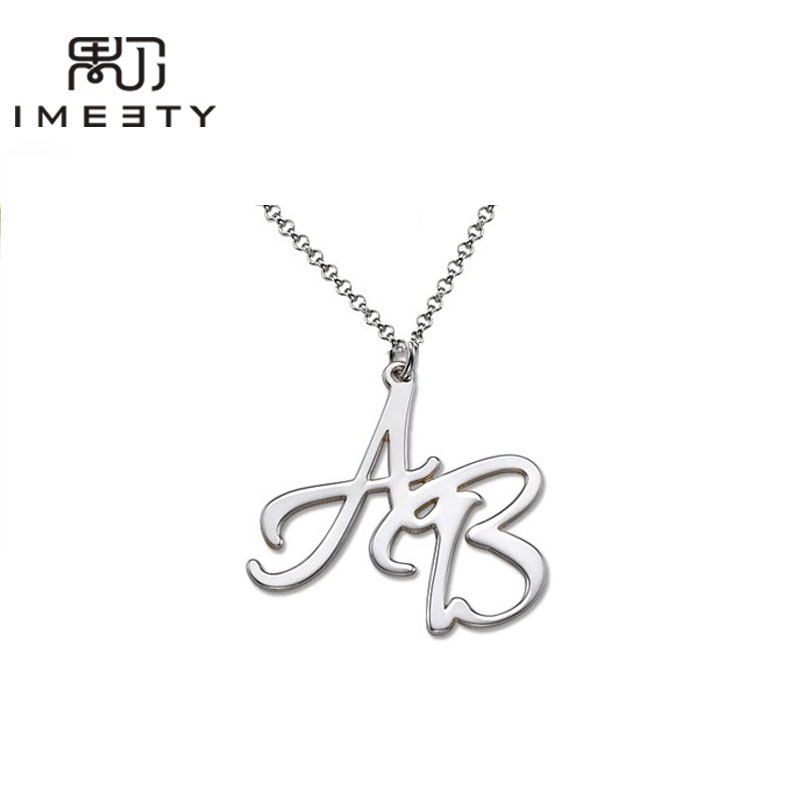Imeety dainty personalized mom jewellry monogrammed name necklace wholesale 1pcs customizable silver double initial necklace handmade love charm necklaces with initials for couples aloadofball Image collections