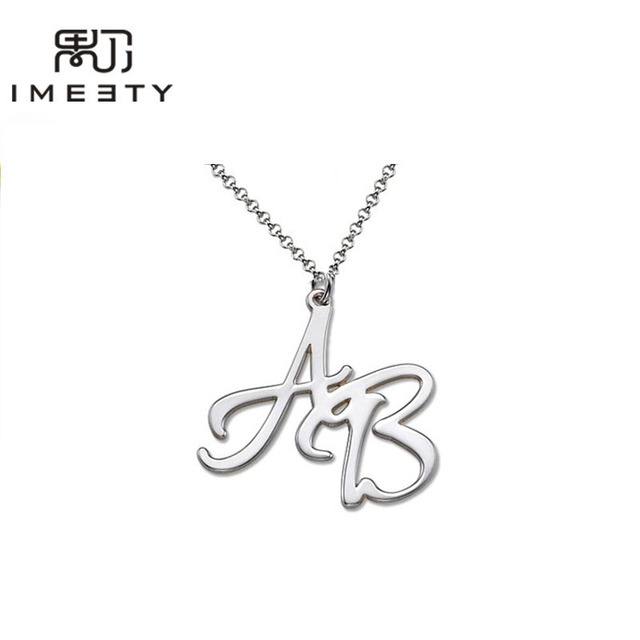 Wholesale 1pcs customizable silver double initial necklace wholesale 1pcs customizable silver double initial necklace handmade love charm necklaces with initials for couples mozeypictures Image collections