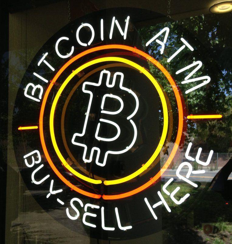 B acheter vendre ici BITCOIN ATM personnalisé barre de bière en verre néon signe