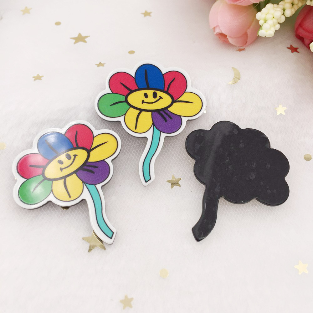 6pcs resin Colorful Smile Rainbow Sunflower Flatback rhinestone DIY accessories