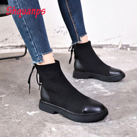 New Women Black Shoes Breathable Casual Fall Shoes Scarpe Donna High Top Sneakers Lace Up Shoes Woman Zapatos De Mujer 2019 Bot