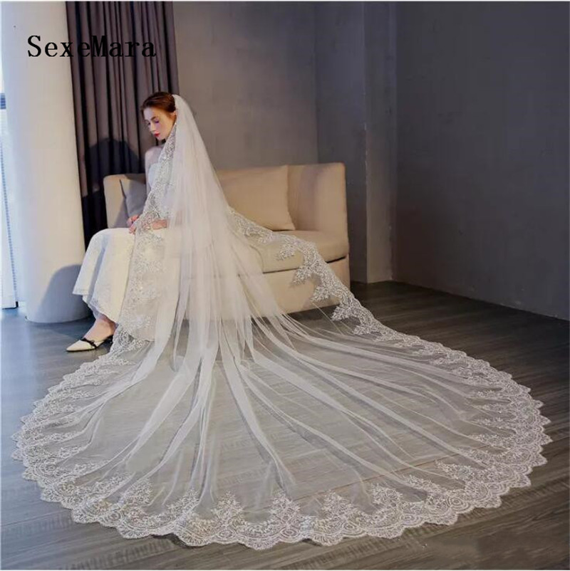 Wedding Veil 3M Cathedral Length Long Veils Beaded Applique Lace Edge Veil Bridal Veil With Comb White Ivory