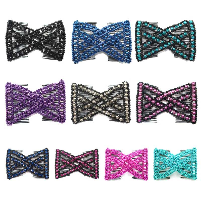 Women Pearl Beads Elastic Hair Combs Double Slide Magic Bun DIY Hairstyle Making Tool Metal Novelty Hair Clip Accessories