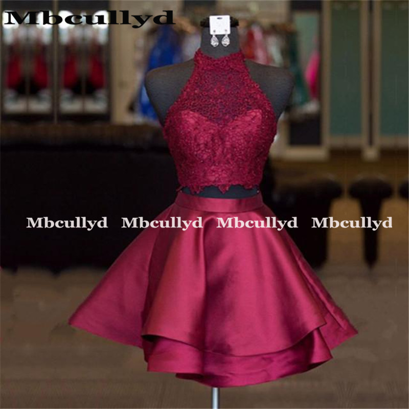 Mbcullyd Cheap Two Piece   Prom     Dresses   2019 Sexy Backless Burgundy Satin 2 Pieces Party   Dress   Formal Cocktail Gowns For Women