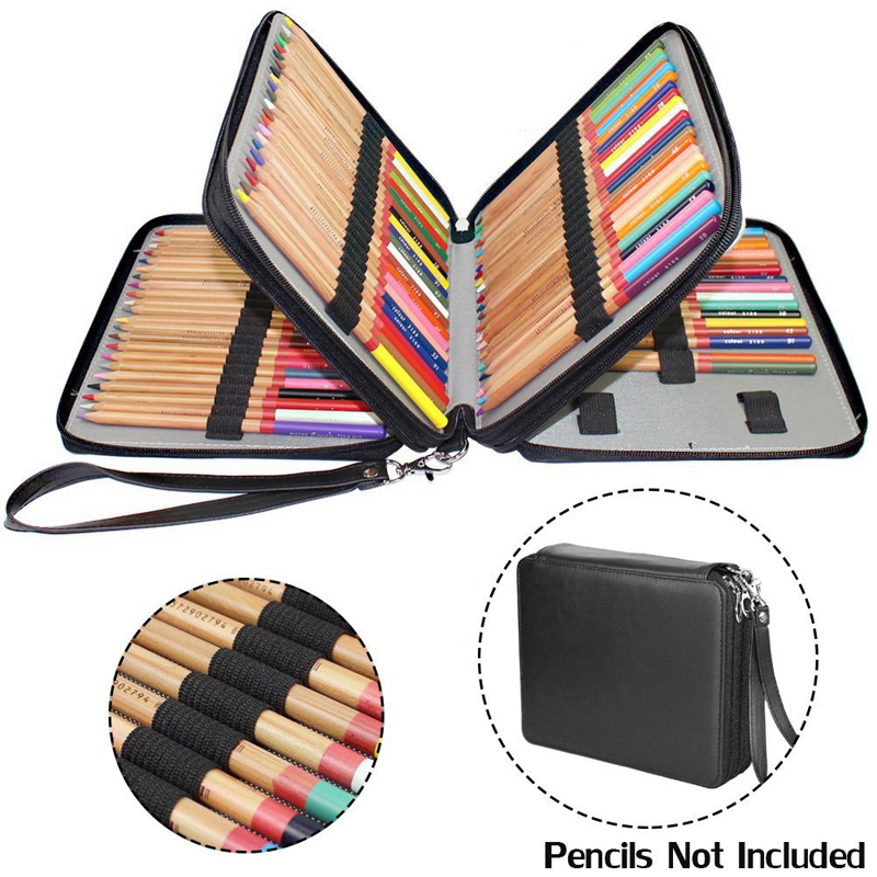 127 Holes Pencil Case PU Leather Protable Colored Pencil Holder Set For Artist Students Pen Bag Punch Travel Carry Storage 1 pcs diy car styling new pu leather free punch with cup holder central armrest cover case for ford 2013 fiesta part accessories