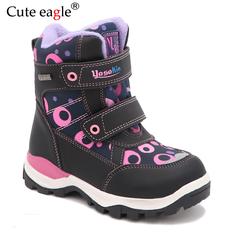 Cute eagle Winter Girls Boots Warm Wool School Outdoor Baby Zipper Plush Rubber Snow EU Size 27-32
