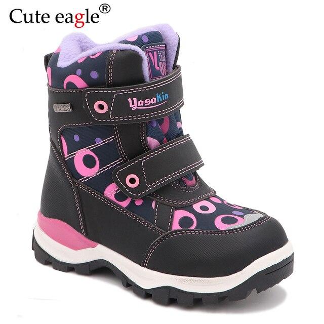 Cute eagle Winter Girls Boots Warm Wool School Outdoor Cute Baby Zipper Boots Plush Rubber Winter Snow Boots Girls EU Size 27 32