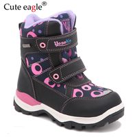 Cute eagle Winter Girls Boots Warm Wool School Outdoor Cute Baby Zipper Boots Plush Rubber Winter Snow Boots Girls EU Size 27 32