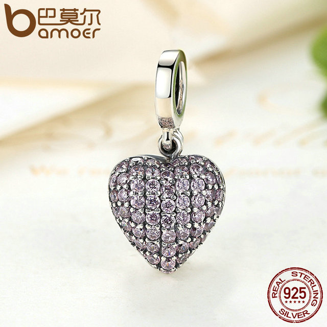 Sterling Silver Pink Heart Love Forever Charm