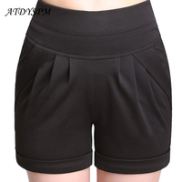 ATDYSPM Plus Size 6XL   Shorts   Women High Waist Casual   Short   Candy Color Elastic Waist Pocket Pleated Loose Harem   Short   Hot   Shorts