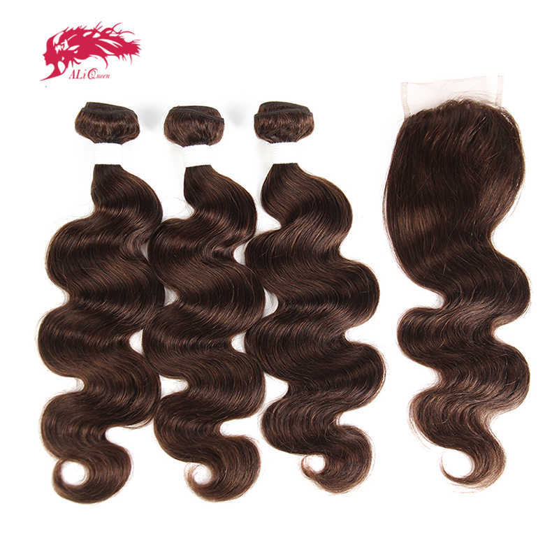 Brazilian Body Wave Remy Hair 3 Bundles With Lace Closure 4x4 Free/Middle Part #613/#4/#33/#30/#27/#99J/#Burg Ali Queen Hair