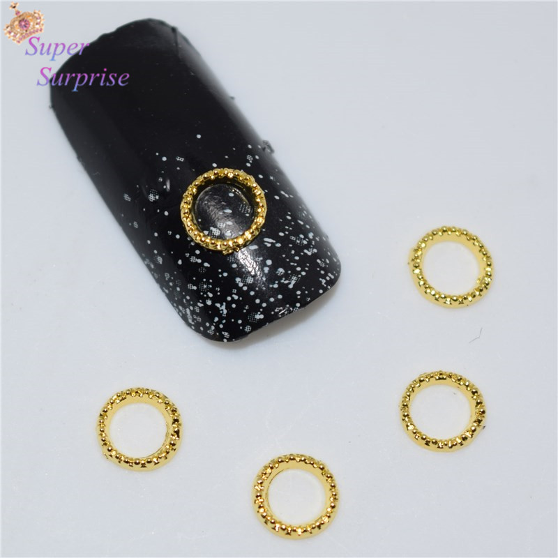 50Pcs new Golden circle nail stickers, 3D Metal Alloy Nail Art Decoration/Charms/Studs,Nails 3d Jewelry <font><b>H002</b></font> image