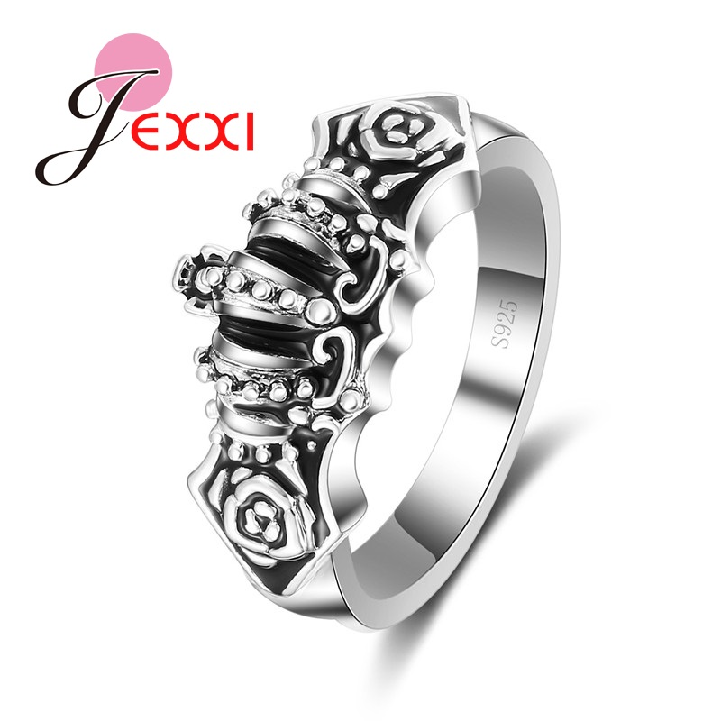 JEXXI Hot Selling Vintage Elegant Gothic Black Rose Hollow Out Flower Rings For Women Fashion 925
