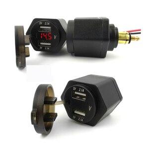 Image 2 - شاحن أسود مزدوج USB للدراجة النارية شاحن دراجة نارية لسيارات BMW DIN Hella مقبس ولاعة السجائر مع غطاء غبار النمل
