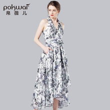 POKWAI Bohemian Long Summer Cotton Linen Dress Women Fashion High Quality 2017 New Arrival Sleeveless Sashes Pleated Dresses