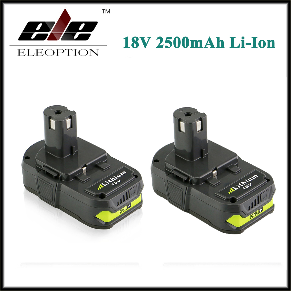 Eleoption 2x 18V 2500mAh Li Ion Rechargeable Battery For Ryobi RB18L25 One Plus for font b