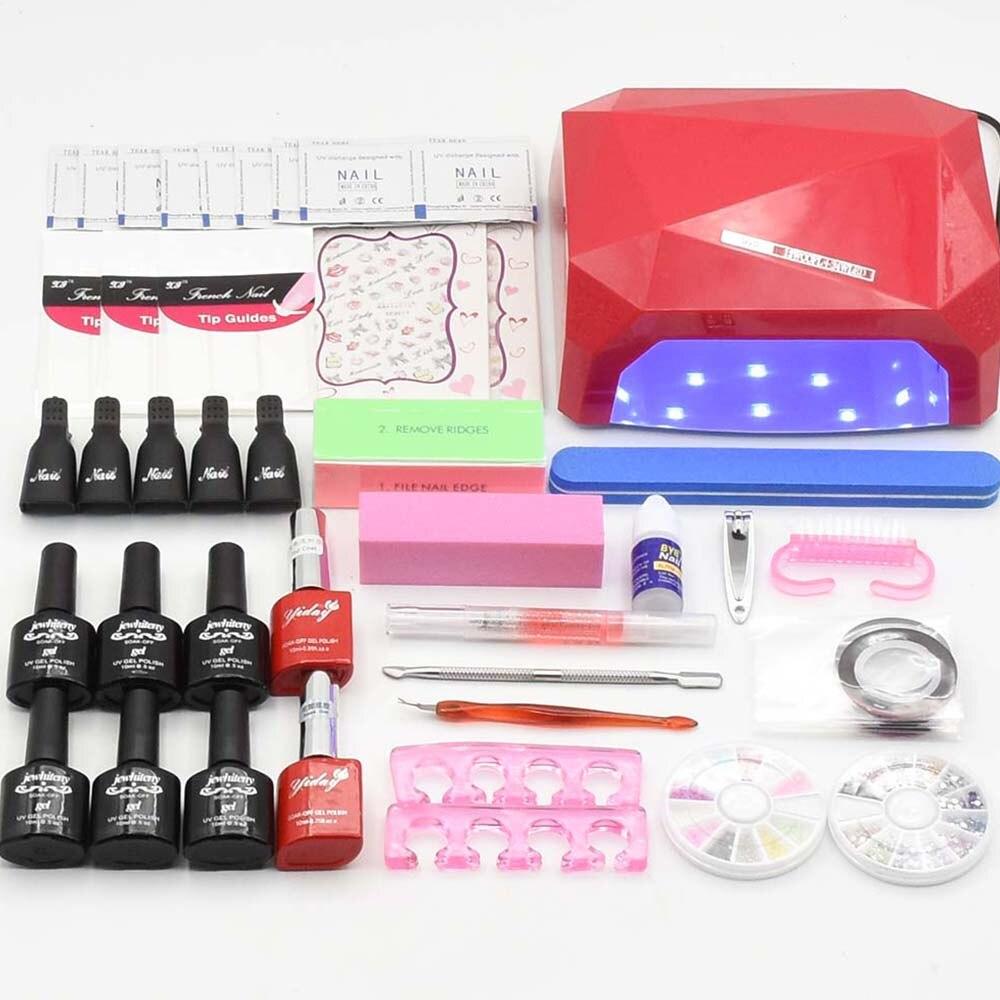 Nail Art Manicure Set 10ml 120 colors gel varnishes nail polish <font><b>UV</b></font> LED lamp dryer base top <font><b>coat</b></font> Nail Tool Kits Manicure