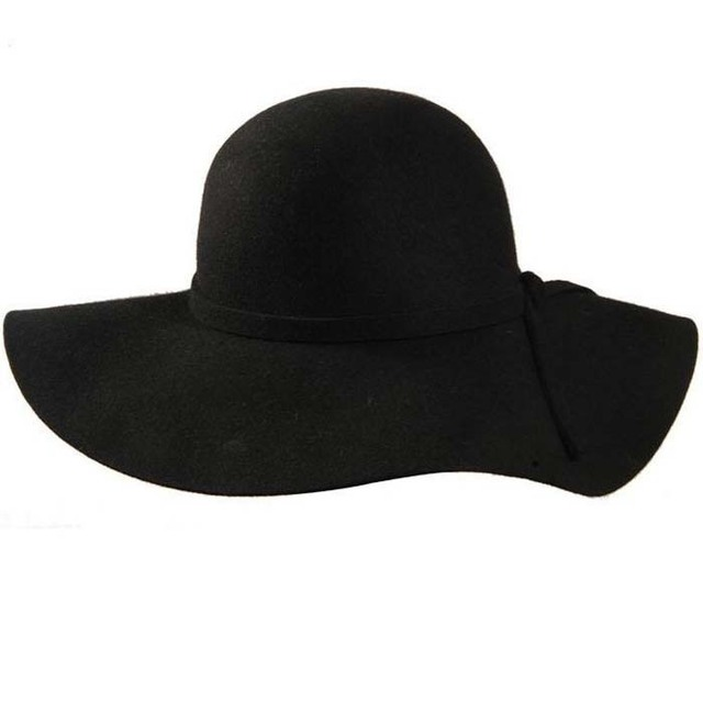 Free Shipping 100% Pure Wool Fedoras Hofn's Stetson Beach Caps Floppy Wide Brim Sun Hat Foldable With Tie For Women
