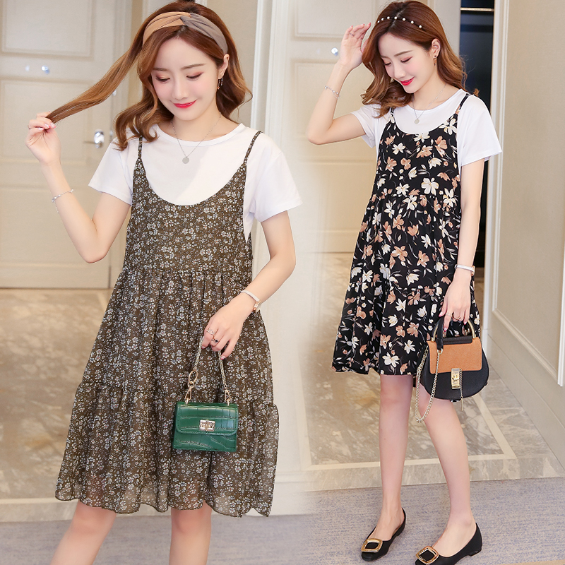 2018 Two Piece Set Maternity Dress Summer Short Sleeve Pregnant Womens Dress Chiffon Cotton Clothing Comfortably Breathable