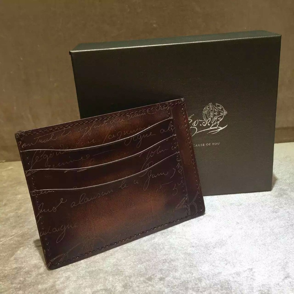 TERSE Wholesale Price Coffee Color Card font b Wallet b font Handmade Real Leather Italian Leather