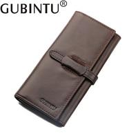 GUBINTU Luxury Brand 100 Genuine Cowhide Leather High Quality Men Long Wallet Coin Purse Vintage Designer