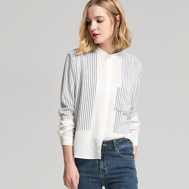 100% Silk Blouse Women Shirt Simple Design Striped Patch Long Sleeves Office Work Top Graceful Style New Fashion 2017 Autumn