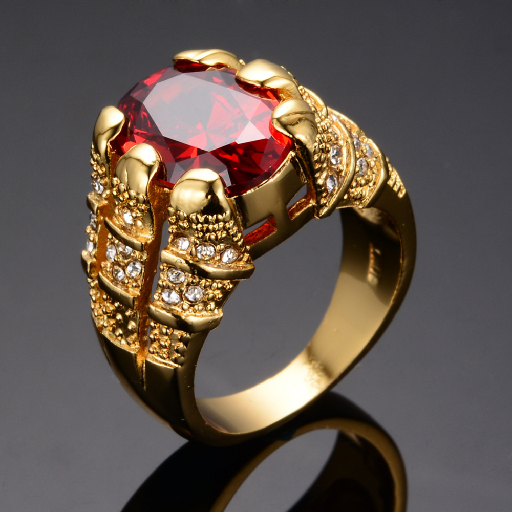 Fine Jewelry Ruby Ring Yellow Gold Filled Mens Finger Ring 10KT Rings SIZE 6 12 Fashion High
