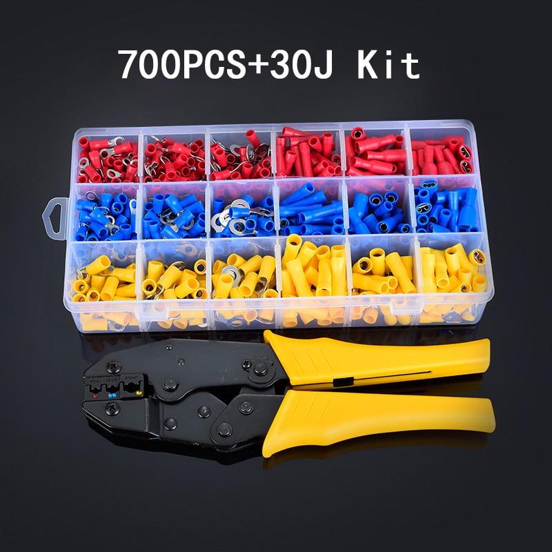 0.5-6.0mm2Mini alicate fio elétrico kit caixa de ferramentas de friso terminais tubulares 700 pcs Wire Stripper Crimper Terminal 20- 10 AWG