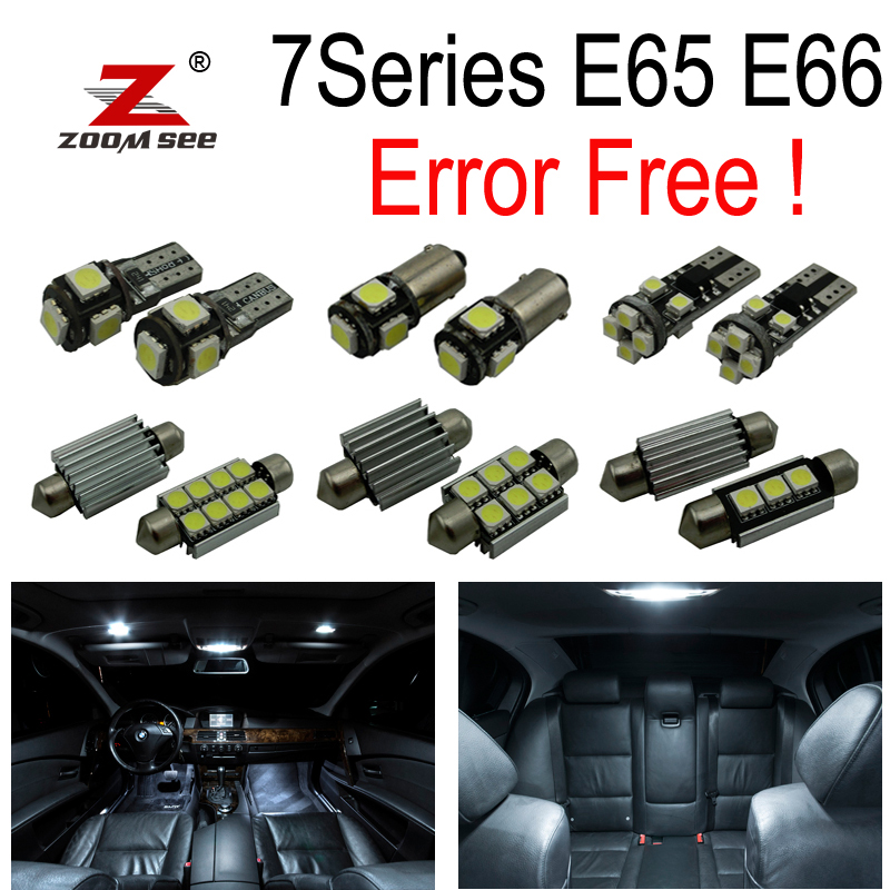 18pc X Error free LED Interior Light Kit  for bmw 7 series E65 E66 745Li 750Li 760Li 745i 750i (2002-2008) 2pcs 12v 31mm 36mm 39mm 41mm canbus led auto festoon light error free interior doom lamp car styling for volvo bmw audi benz