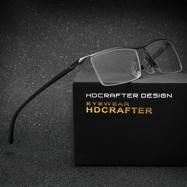 Hdcrafter titanium eyewear tr90 miopia óculos de armação homens óculos de armação de óculos de leitura confortável slip-resistente para homens