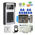 Free Shipping Wifi Video Door Phone Intercom Metal Outdoor Doorbell with RFID Code Keypad Access + Remote + Electronic Door Lock