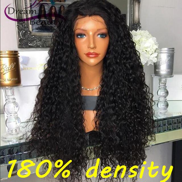 180% Densidad Peruano Rizado Pelo Virginal Llena Del Cordón Del Pelo Humano pelucas Para Las Mujeres Negras Pelucas Delanteras Del Cordón Sin Cola Llena Del Cordón peluca