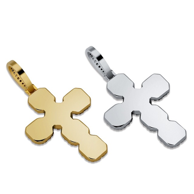 New Custom Iced Out Big Solid CZ Cross Pendant Necklace With 12mm Cuban Chain Mens Hip Hop Gold Silver Color Charm Jewelry