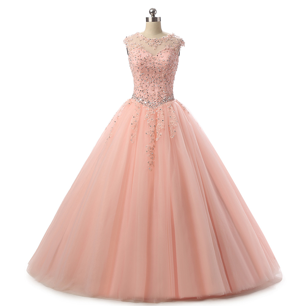 2019 Pink Quinceanera Dress Vestidos De Festa Longo Ball Gown Beaded Lace Open Back Sweet 15 Dresses