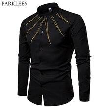 Dress Shirts Chemise Embroidery Mandarin-Collar Business Long-Sleeve Black Casual Mens